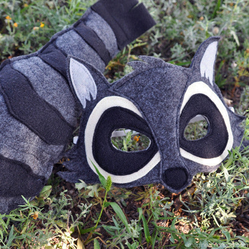 Handmade Raccoon Eco-Felt Mask & Tail