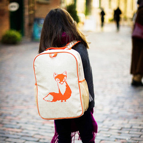 Orange Fox Eco-Linen Backpack