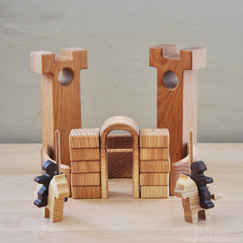 Mini Natural Wood Castle Blocks