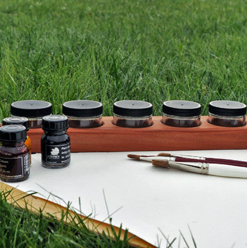 Cherry Wood 6 Jar Paint Holder