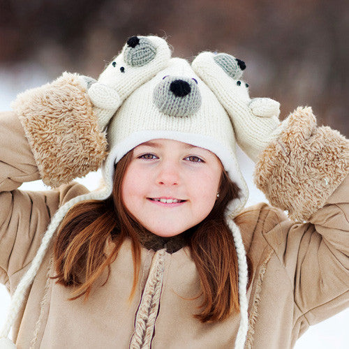 Fair Trade Wool Polar Bear Hats & Mittens