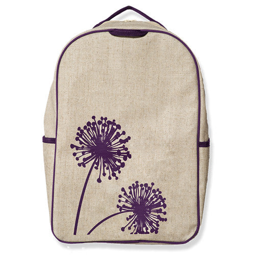 Purple Dandelion Eco-Linen Backpack