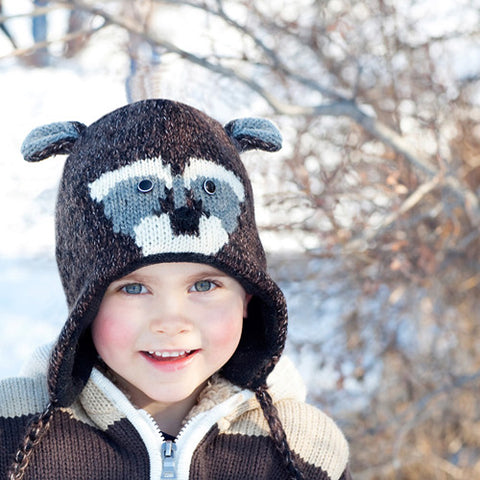 Fair Trade Wool Raccoon Hats & Mittens