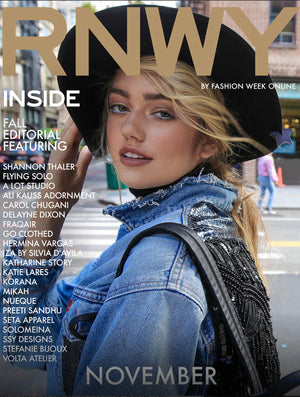 Mikah on the cover of RNWY Fashion Week Online November issue