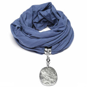 Sciarpe Gioiello Jeans - Cotton blue scarf with aluminum pendant