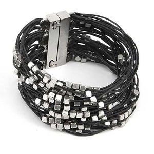 Fili Cubi - Multi cotton ropes bracelet adorned with squares beads