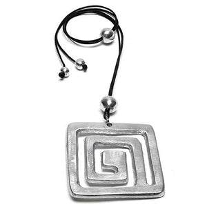 Necklace with square spiral aluminum pendant