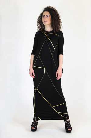 Maxi Boho Stitched Black Gold