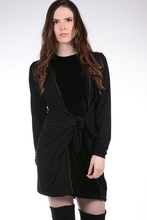 NEW! Boho Chic Midi Velour Dress Black/Black