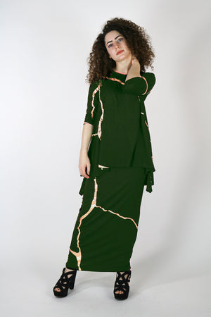 Sachie Military Gold Kintsugi Skirt