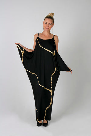 Maxi Spaghetti Strap Boho Chic Dress - Kintsugi Collection