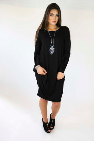 Black Solid Boho Chic Dress with Long Sleeves
