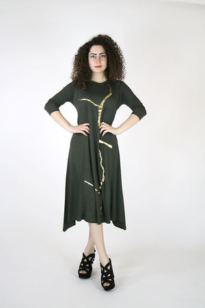 Erina Military and Gold Kintsugi Dress