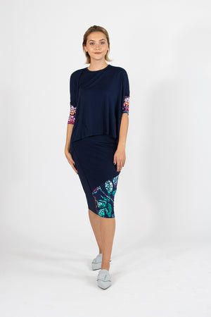 Hana Top - Navy Flowers - Mosaic Collection