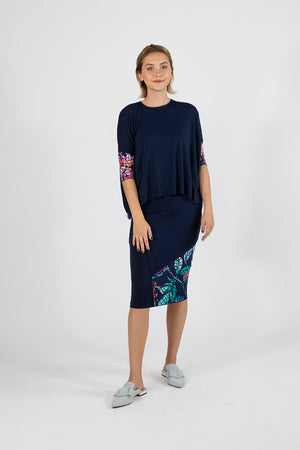 Etsu Skirt Navy Flowers - Mosaic Collection
