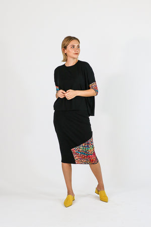 Etsu Skirt Black Watercolor Mosaic collection