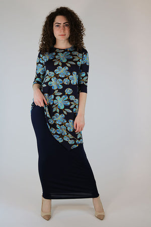 Mari Set (Top and Skirt) Navy Cherry Blossom