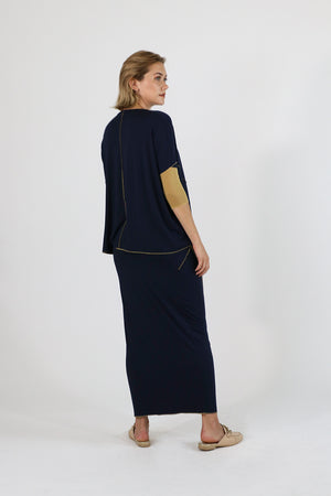 Sachie Skirt (Etsu but Maxi) Navy Gold Kintsugi Collection