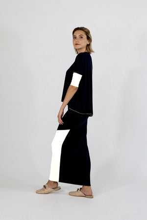 Sachie Skirt (Etsu but maxi) Black White Kintsugi Collection
