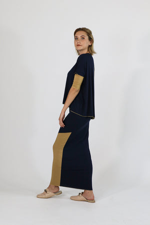 Sachie Skirt (Etsu but Maxi) Navy Camel Kintsugi Collection