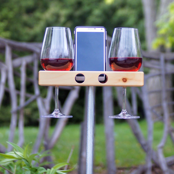 wine glass holder.  smartphone holder for outdoors.  waterproof speaker for your smartphone.