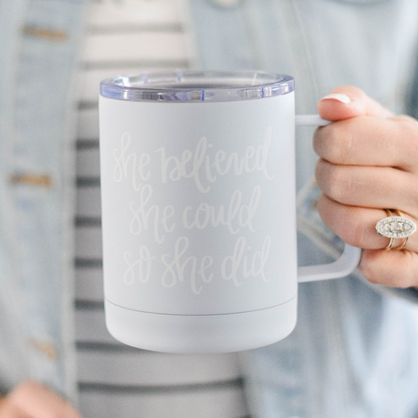 Sweet Water Decor - She Believed She Could So She Did Metal Coffee Mug