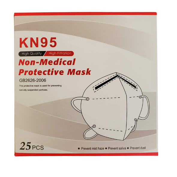 Certified KN95 Protective Respirator Mask - SGS Tested - Box of 25 masks
