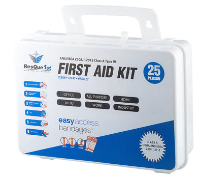 ResQue 1st Class A 25 Person 2015 ANSI/OSHA Z301.1 Type III First Aid Kit
