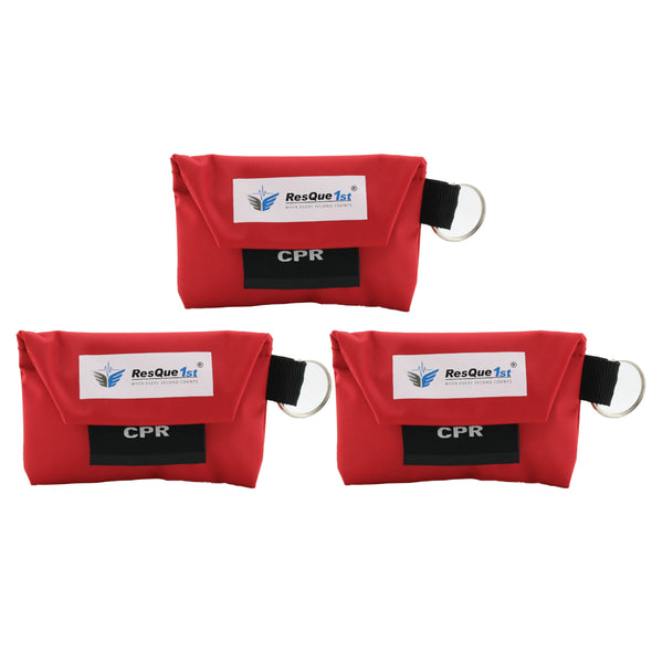 ResQue1st CPR Mask With Gloves Key Chain Kit (3-pack) - One-way Valve and Face Mask
