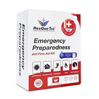 "ResQue1st ""Quick Aid®"" Complete First Aid Kit & Emergency Preparedness Kit · 180 Pieces"