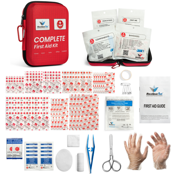 ResQue 1st 125 Piece Clamshell First Aid Kit - Home • Car • Outdoor • Work • Camping