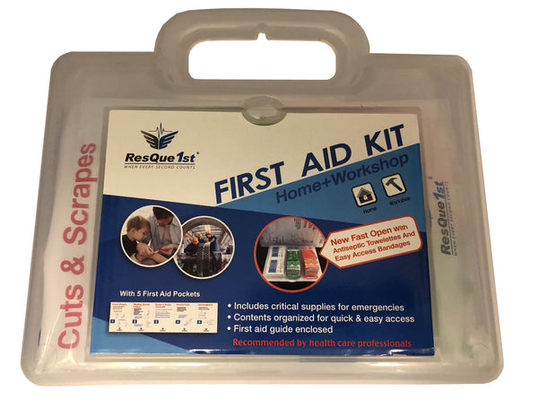 "All Purpose Multi Use First Aid Kit with ""Quick Aid"" Panel for Bandages and Antiseptic Wipes"