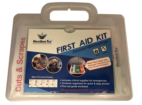 "Picture of All Purpose Multi Use First Aid Kit with ""Quick Aid"" Panel for Bandages and Antiseptic Wipes"