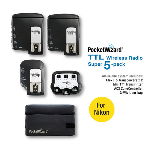TTL Wireless Radio Super 5-Pack for Nikon - FCC