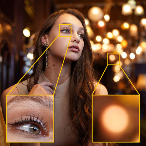 close up on model's eye and comparing background bokeh