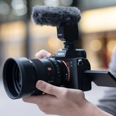 Sony 35mm 1.4 GM lens on an A7S III with Microphone