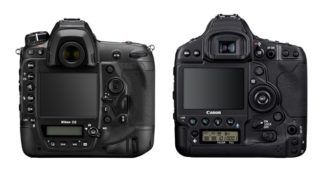The Back of the Nikon D6 and Canon 1D X Mark III