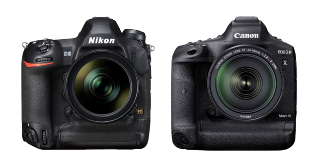 The Front of the Nikon D6 and Canon 1D X Mark III