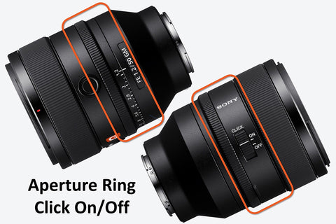 manual aperture ring with click on/off switch