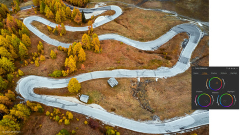 Aerial photo of curvy road showing color balance interface of capture one.