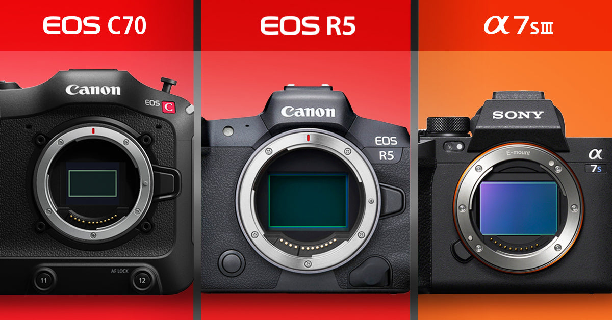the canon c70, eos r5 and sony a7siii