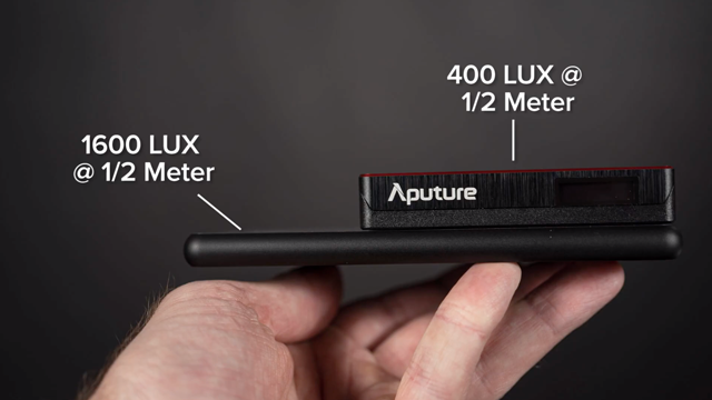 The size and LUX capability compared in the Aputure MC and Lume Cube