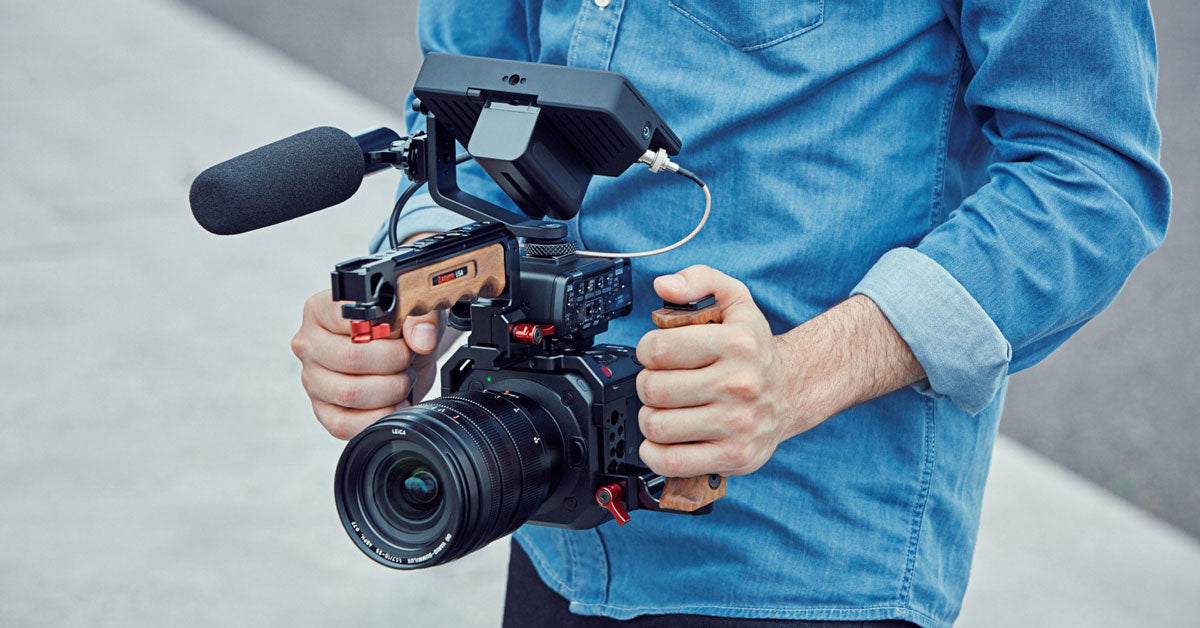 The Panasonic Lumix BGH1 being used with stabilizer