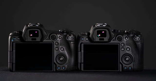 Back of both the Canon EOS R5 and EOS R6 cameras
