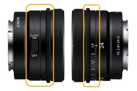 Sony 24mm clickable Aperture Ring