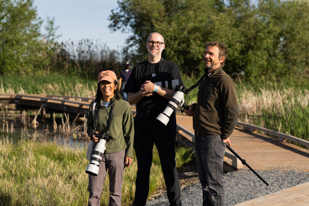 attendees and pictureline employee at the farmington bay birding event