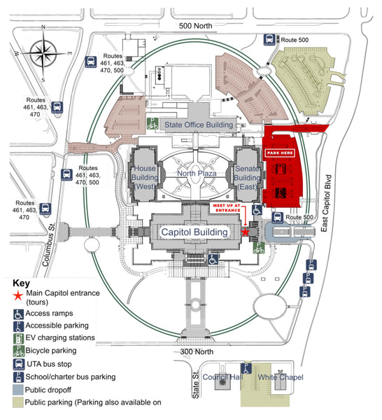 Map of the utah state capitol building