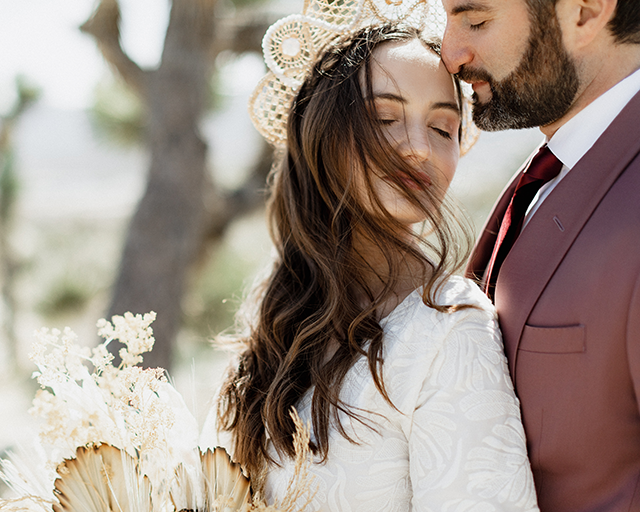 Chelsea Fabrizio photography image of bride and groom at Joshua Tree