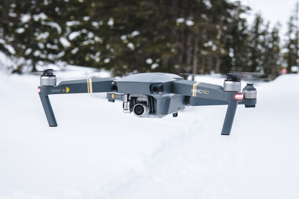 DJI Drone flying in cold snow weather