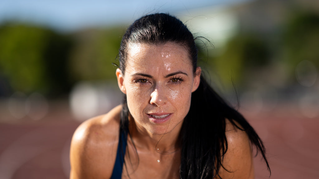 Photo of runner dripping sweat using Canon 85mm 1.2